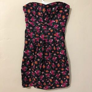 Pins and Needles M Strapless Floral Mini Dress